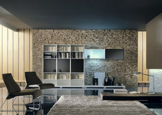 Stone Wall Combination With Contemporary Interior Design