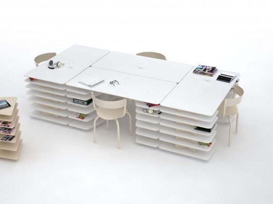 strates system compact office desk and shelving system by mathieu lehanneur