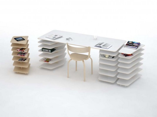 strates system minimalist office desk with shelving