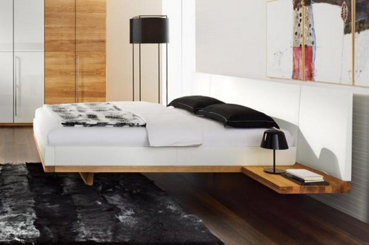 solid walnut modern bed with comfortable white headrest