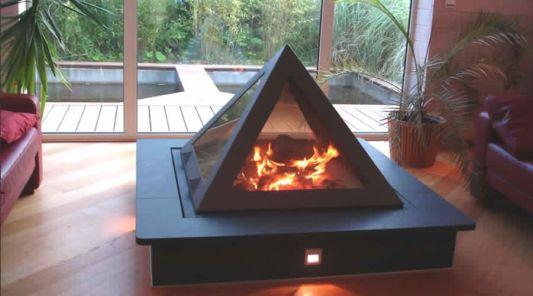 table for standing pyramid fireplace