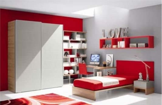 teen room with red color ideas