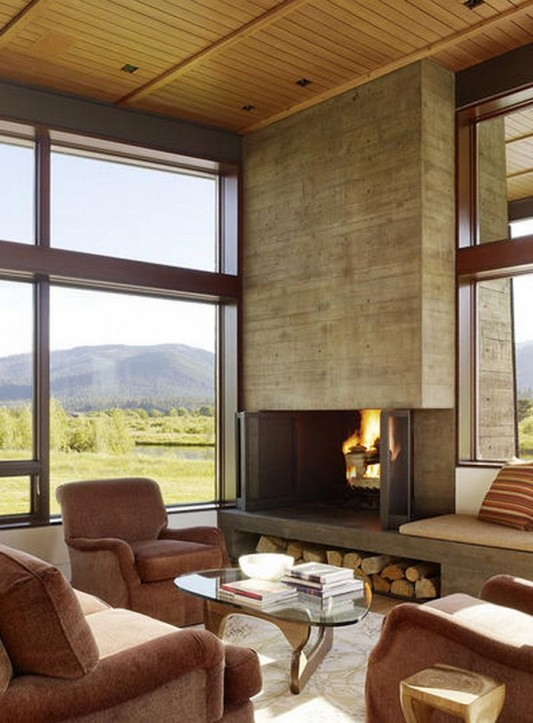 traditional living room design solutions with wood fireplace