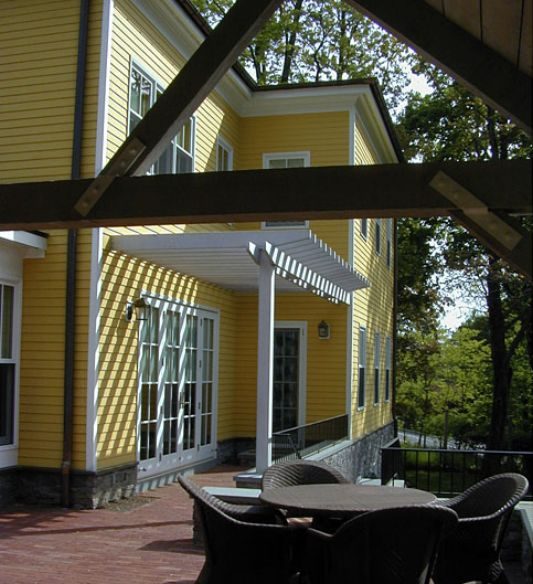 traditional private residence exterior ideas with patio