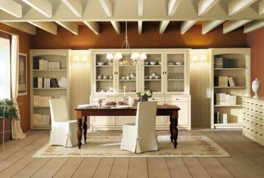 Traditional Style Dining Room With Wood Plasterboard White Bones Color