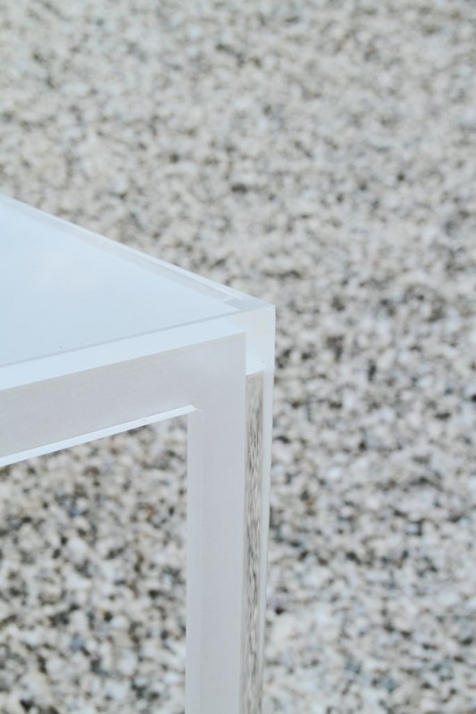 transparent white stackable table design detailed
