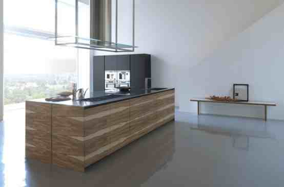 trendy minimalist style wooden kitchen