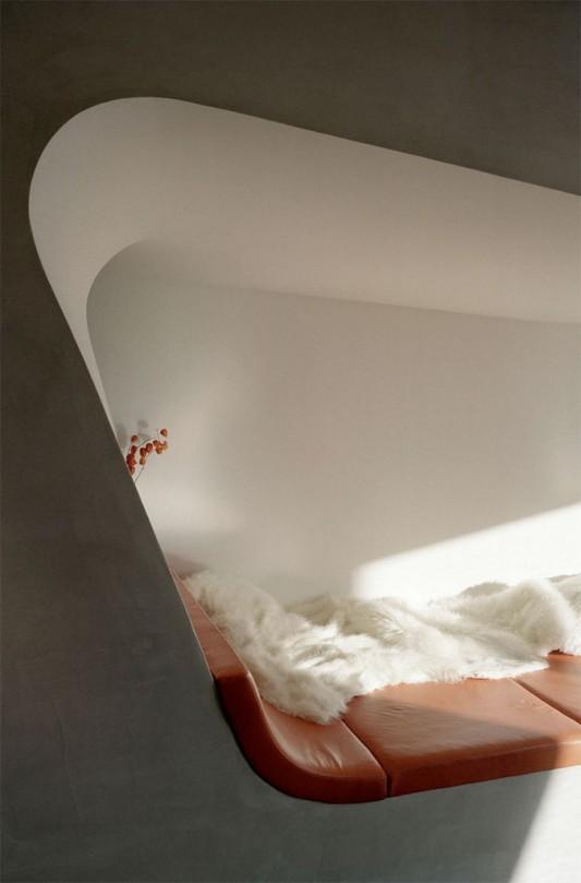 ultra-modern loft interior open bedroom design
