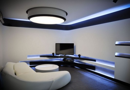 ultra-modern apartment interior with LED lighting