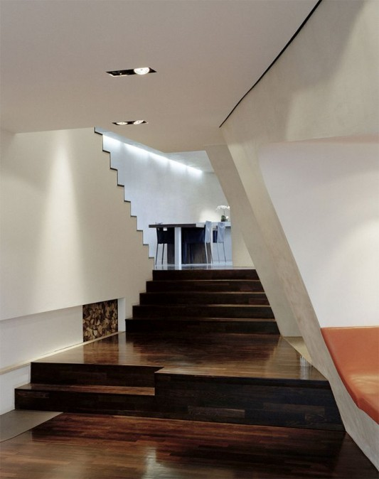 ultra modern loft interior stairs and wall design