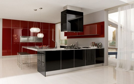 ultra modern maroon and black elegant kitchen design
