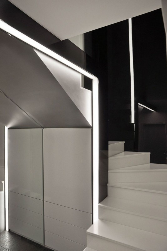 ultra-modern stair with fiberglass wall panel and LED lighting