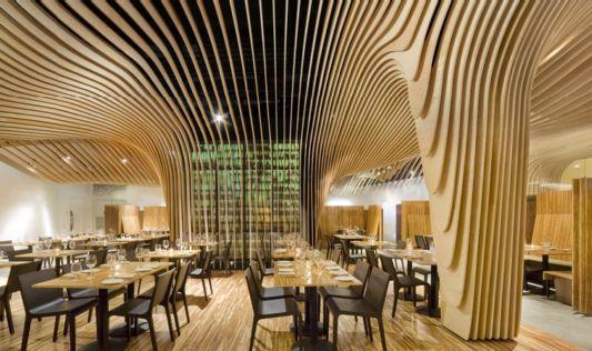 Banq restaurant interior unique design ceiling
