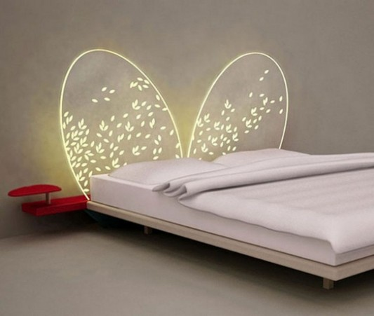 unique decorative lighted headboard design