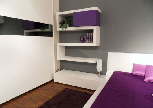 unusual cabinet violet and white bedroom shelving system with rotating unit