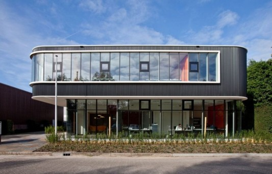 Contemporary office buildings with colorful interior - Small office building exterior design ideas ...