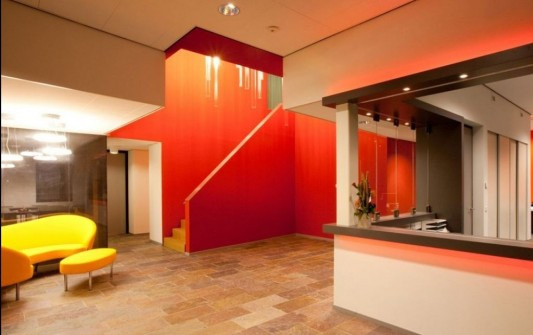 verkerk group contemporary office building colorful interior design