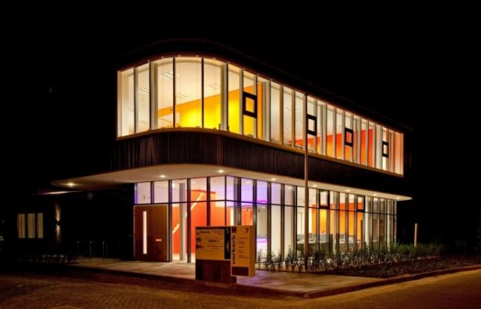 verkerk group contemporary office building colorful lighting