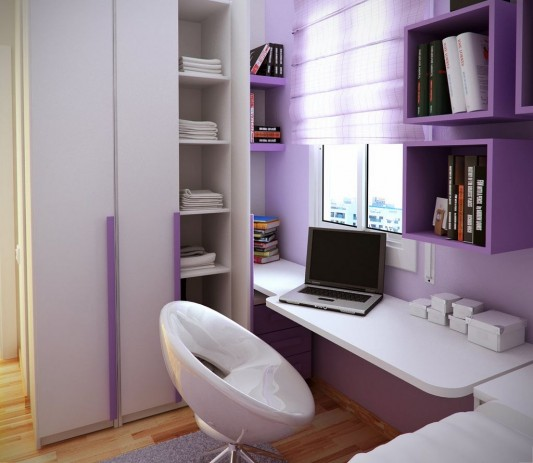 violet modern teen study room design ideas