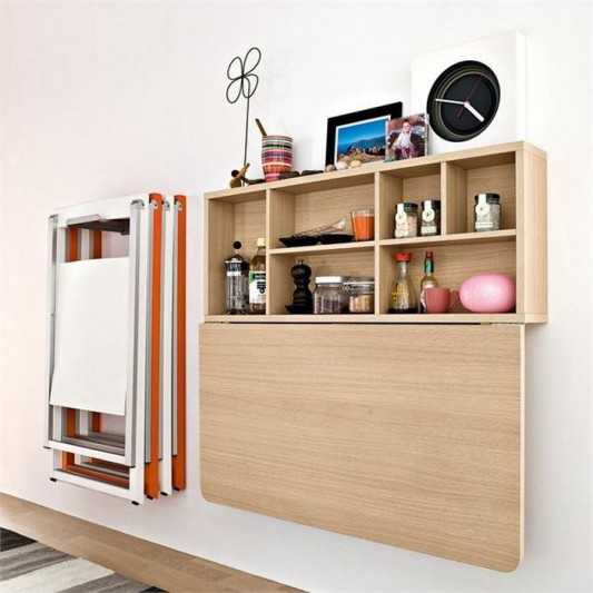 wall mounted folding kitchen table and cabinet design