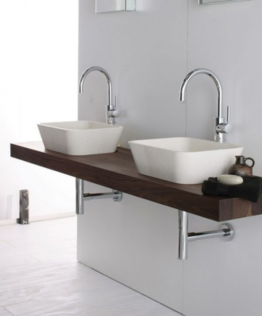 Wall Mounted Wooden Stand Washbasin Combination Design