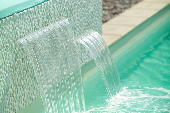 wall waterfall design in any materials swimming pool