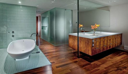 walnut and mosaic ceramic for luxurious and elegant bathroom apartment