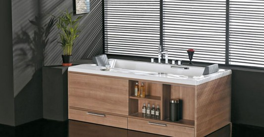 walnut bathroom furniture for storing cosmetics