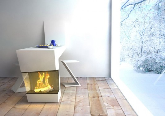 warmpath modern kitchen table combined with fireplaces