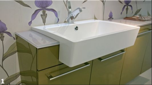 washbasin design in green and white glossy