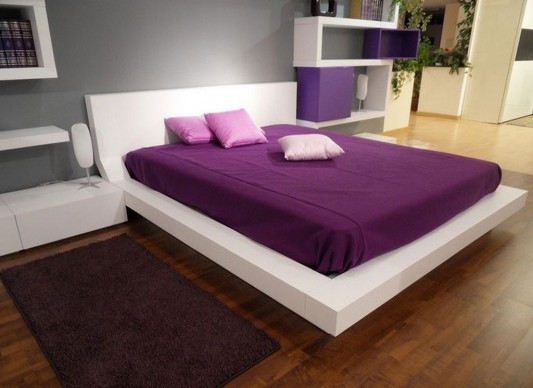 white and violet bedroom in contemporary minimalist design