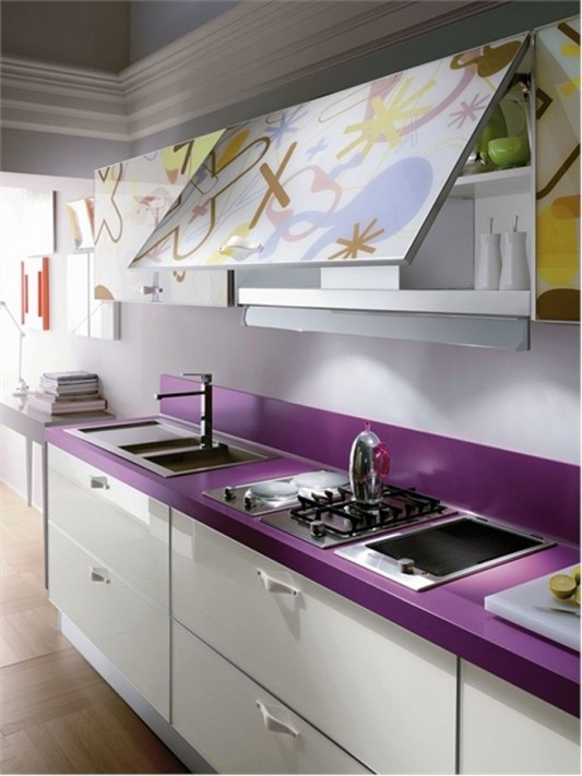 white and violet elegant kitchen design