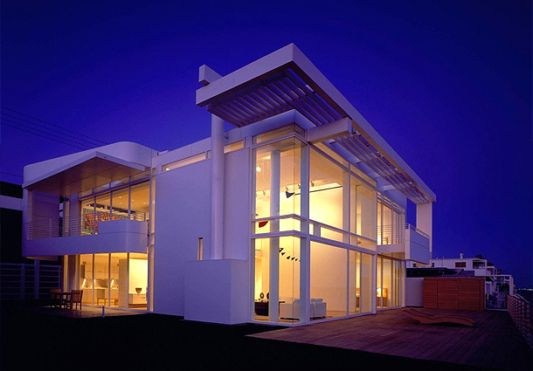 white beach house lighting