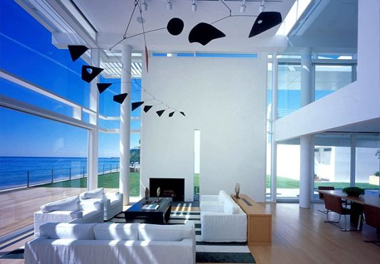 White Beach House Modern Living Room Ideas