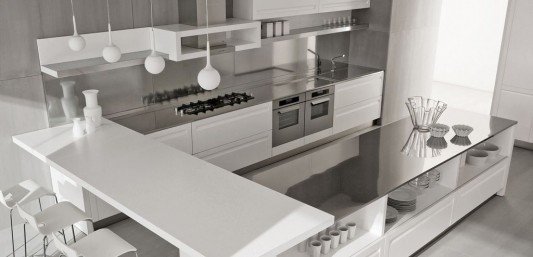 white classical modern kitchen design