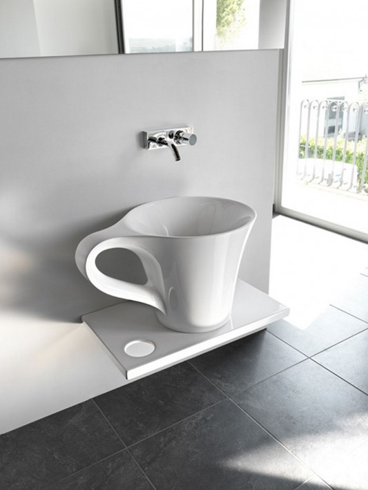 white cup basin design for funny bathroom