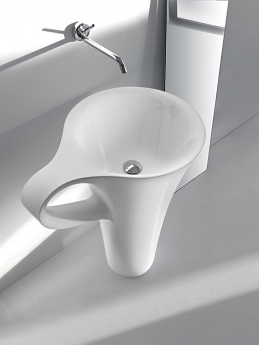 white cup funny freestanding basin design