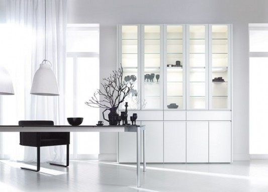 white gloss lacquered wardrobes with display cabinet design