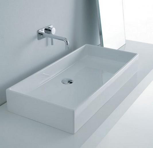 white gloss washbasin ceramic minimalist design