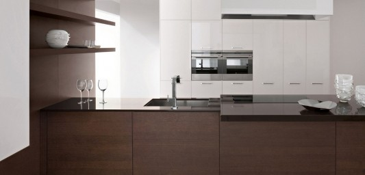 white lacquer and brown velvet kitchen design