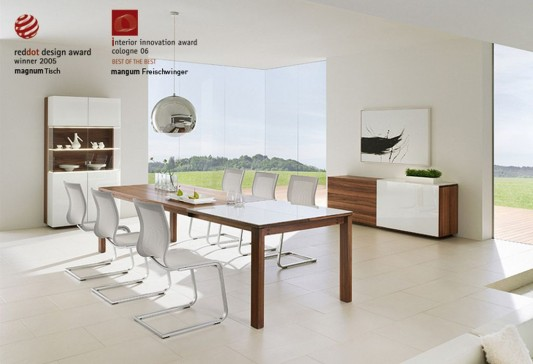 White Lacquer Magnum Wood Minimalist Dining Table