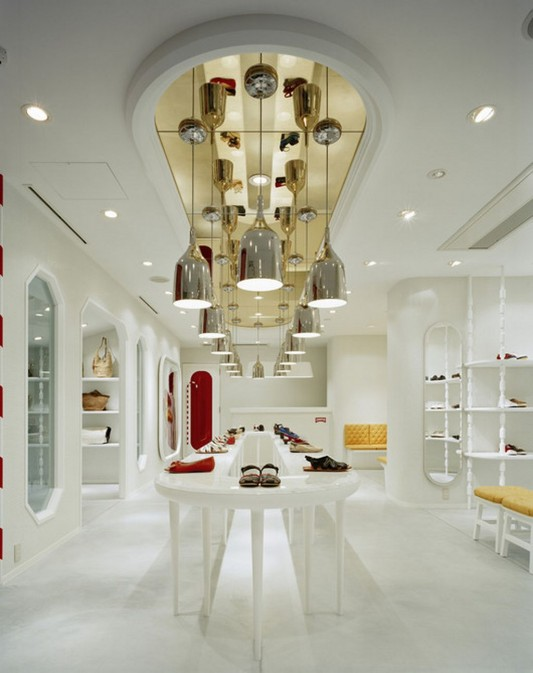 white lacquer shop interior design ideas