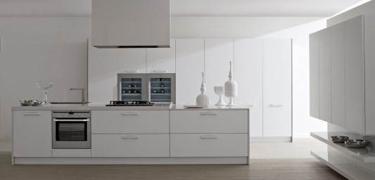 white lacquered modern contemporary kitchen design
