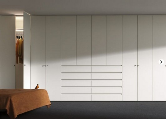 white lacquered wardrobes system multifunction design ideas