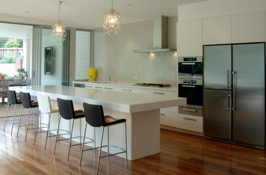 white modern kitchen counter design with Acrylic solid surface material