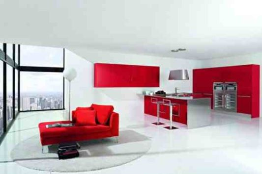White Red Kitchen For Interior