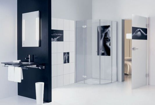 women and man bathroom glass tiles motive by sprinz