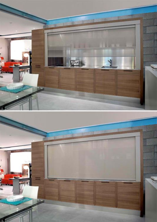 wood glass kitchen natural look