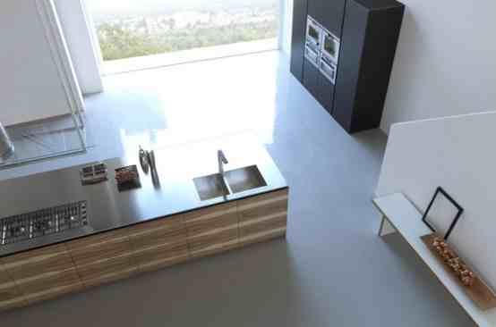 wood kitchen island in the middle of the layout of the kitchen space