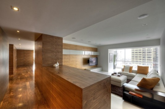 wooden and concrete apartment interior combination ideas